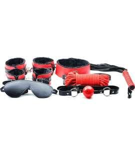 Kit BDSM Vermelho e Preto - 7 peças, Kit de Bondage , , welcomelover