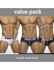 Pack 3 Cuecas Addicted Mesh Brief Push Up