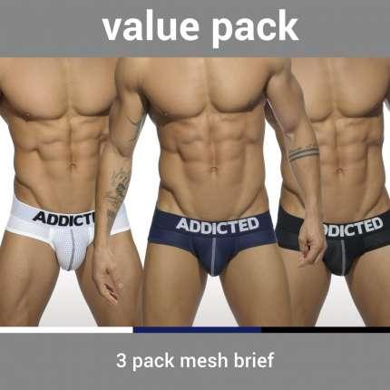 Pack 3 Cuecas Addicted Mesh Brief Push Up, Cuecas Homem, Addicted , welcomelover