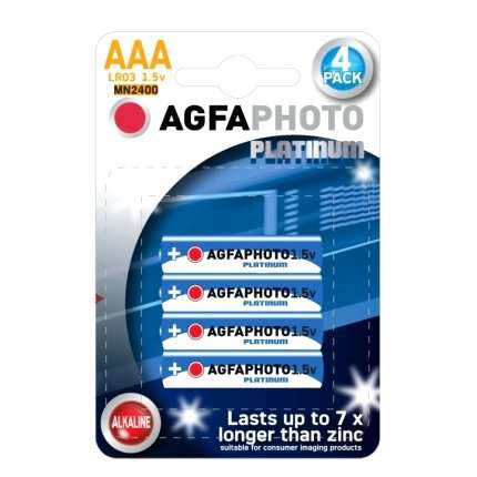 Pack 4 Pilhas Alcalinas AGFA Photo Platinum LR03 AAA 1,5V, Acessórios Lover , , welcomelover